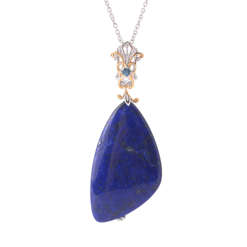 141-431 - Gems en Vogue 44 x 25mm Lapis Lazuli & London Blue Topaz Pendant w/ Chain