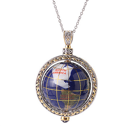 141-432 - Gems en Vogue 30mm Lapis, Chalcedony & African Amethyst Globe Pendant