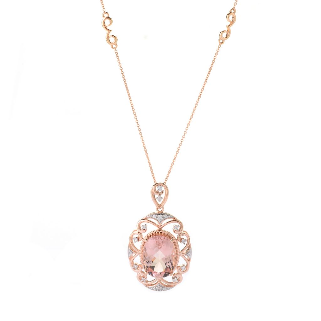 141-434 - Gem Treasures 14K Rose Gold 9.96ctw Morganite & White Zircon Pendant w/ Chain