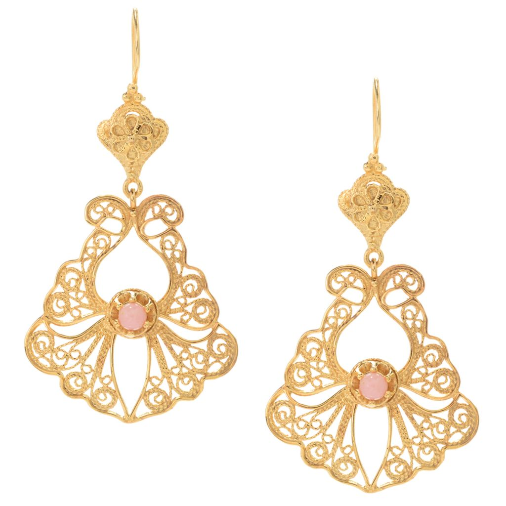 "141-435 - Antalia™ Turkish Jewelry 18K Gold Embraced™ 2.25"" Pink Opal Filigree Earrings"