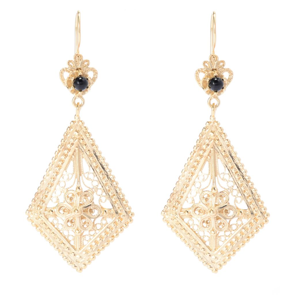 "141-436 - Antalia™ Turkish Jewelry 18K Gold Embraced™ 1.5"" Gemstone Elongated Earrings"