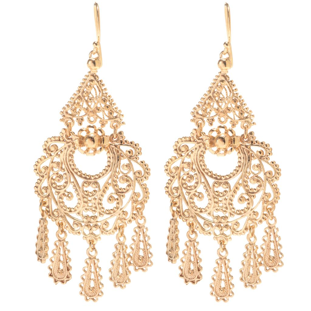 "141-437 - Antalia™ Turkish Jewelry 18K Gold Embraced™ 3"" Dangling Charm Filigree Earrings"