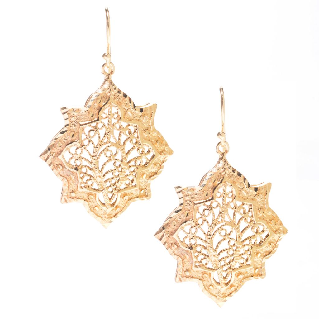 "141-438 - Antalia™ Turkish Jewelry 18K Gold Embraced™ 1.75"" Filigree Dangle Earrings"