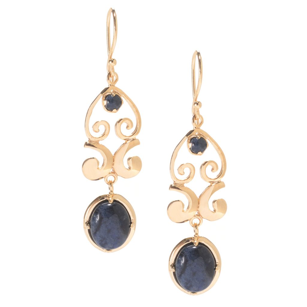"141-439 - Antalia™ Turkish Jewelry 18K Gold Embraced™ 1.75"" Dumortierite Ornate Earrings"