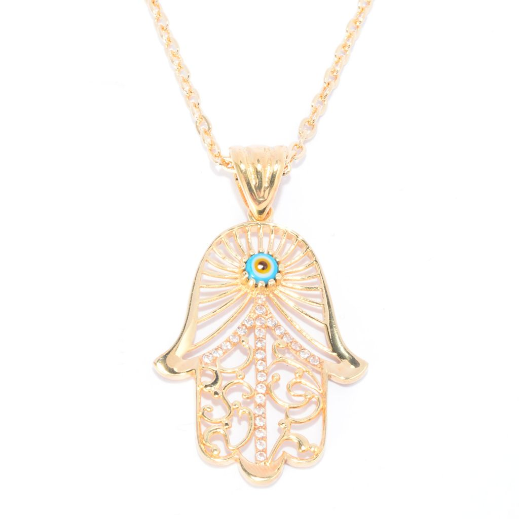 141-440 - Antalia™ Turkish Jewelry 18K Gold Embraced™ White Topaz Hamsa Pendant