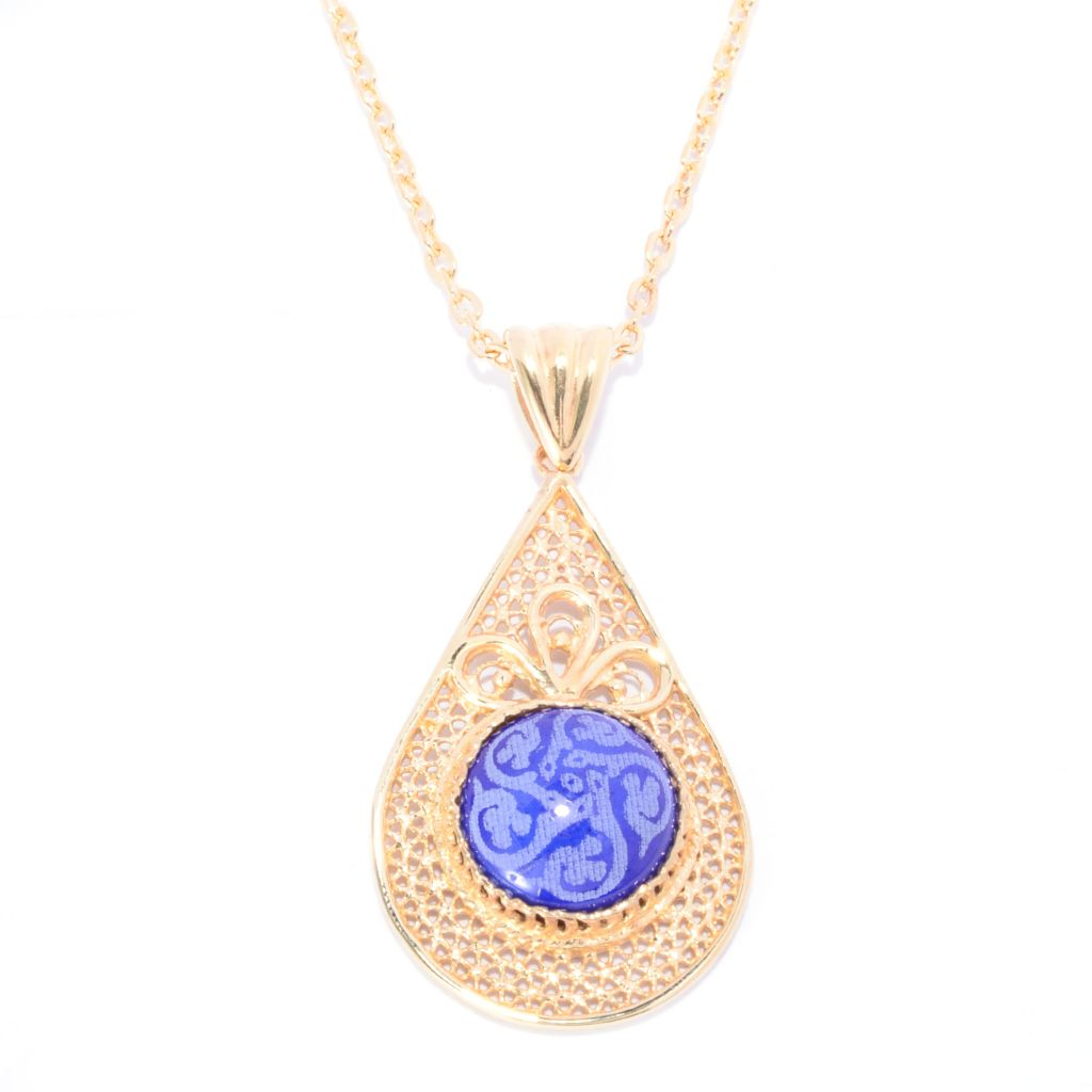 141-441 - Antalia™ Turkish Jewelry 18K Gold Embraced™ Ceramic & Filigree Pendant w/ Chain