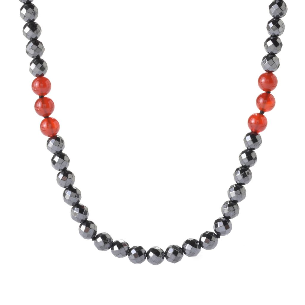 "141-445 - Gem Treasures Sterling Silver 74"" 8mm Hematite & Gemstone Beaded Necklace"