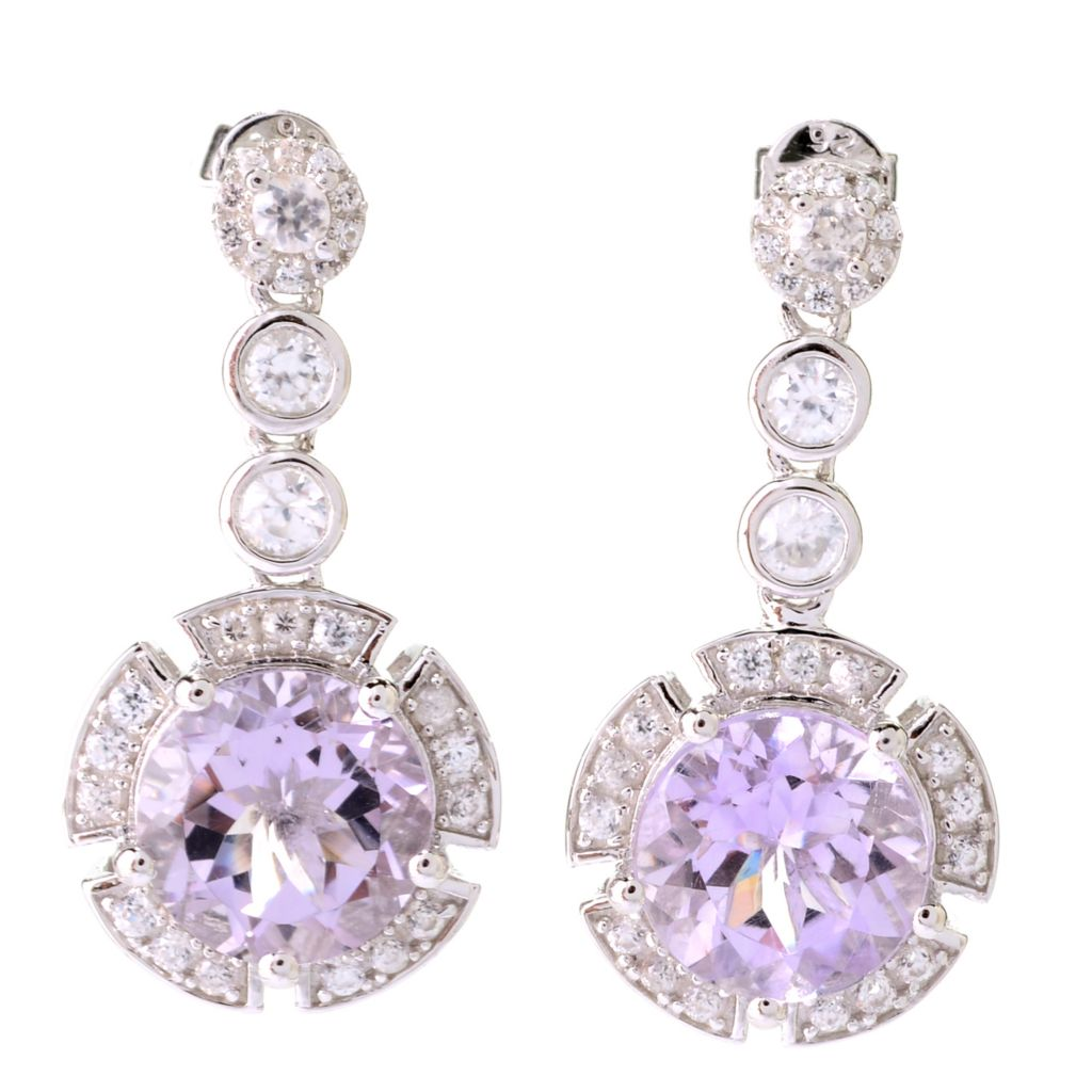 "141-447 - Dallas Prince Sterling Silver 1"" 7.76ctw Amethyst & White Zircon Halo Drop Earrings"