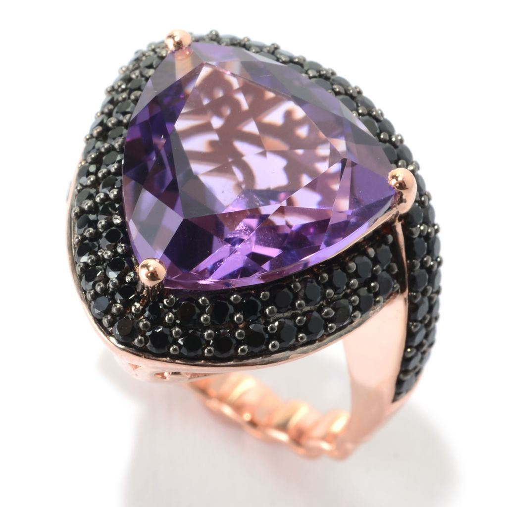 141-449 - Dallas Prince 7.44ctw Trillion Cut Pink Amethyst & Black Spinel Ring