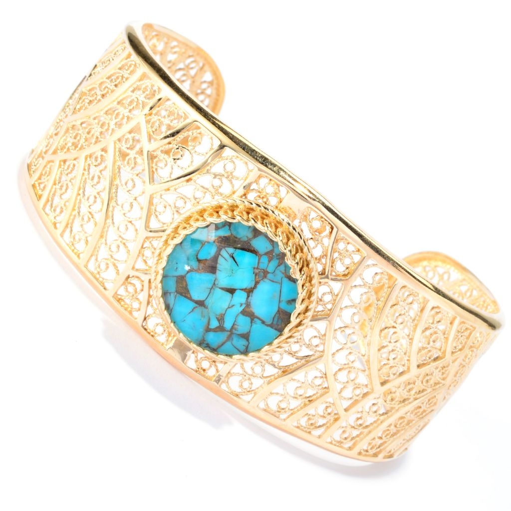 141-451 - Antalia™ Turkish Jewelry 18K Gold Embraced™ 20mm Quartz Doublet Bracelet