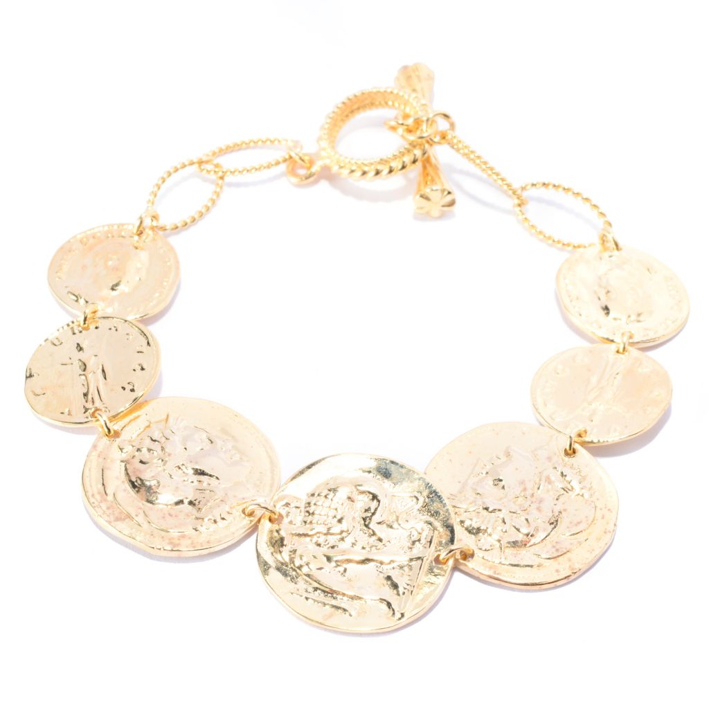 141-454 - Antalia™ Turkish Jewelry 18K Gold Embraced™ Roman & Byzantine Coin Bracelet