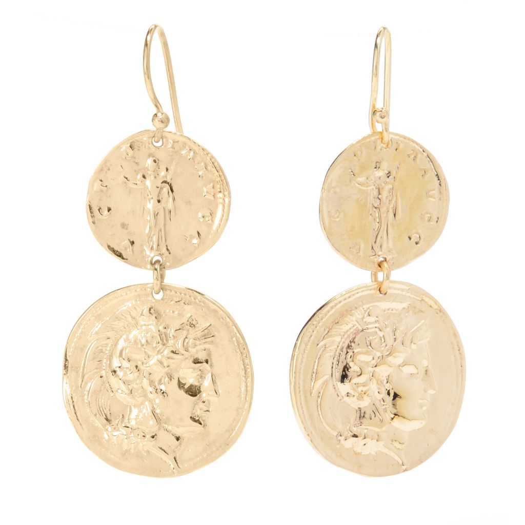 "141-455 - Antalia™ Turkish Jewelry 18K Gold Embraced™ 1.75"" Double Coin Dangle Earrings"