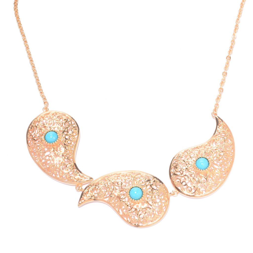 "141-459 - Antalia™ Turkish Jewelry 18K Gold Embraced™ 18"" Turquoise Paisley Necklace"