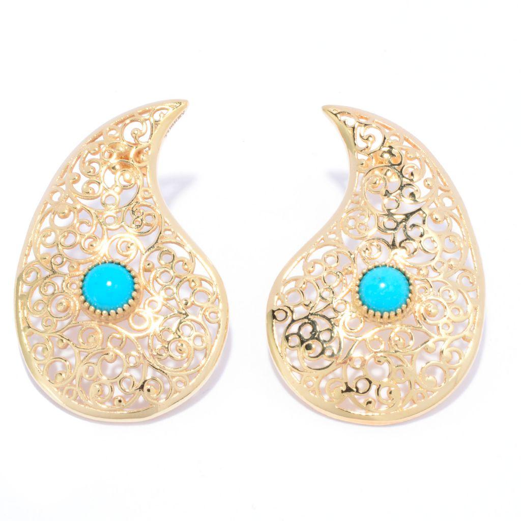"141-460 - Antalia™ Turkish Jewelry 18K Gold Embraced™ 1.37"" Paisley Turquoise Earrings"