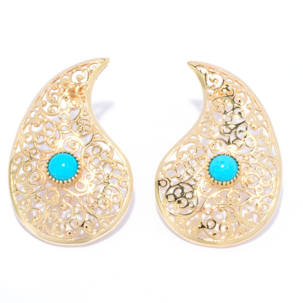 "141-460 - Antalia™ Turkish Jewelry 18K Gold Embraced™ 1.37"" Paisley Turquoise Earrings"