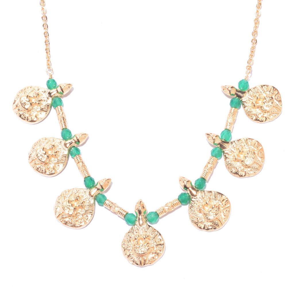 "141-461 - Antalia™ Turkish Jewelry 18K Gold Embraced™ 18"" Gemstone Bead Goddess Necklace"
