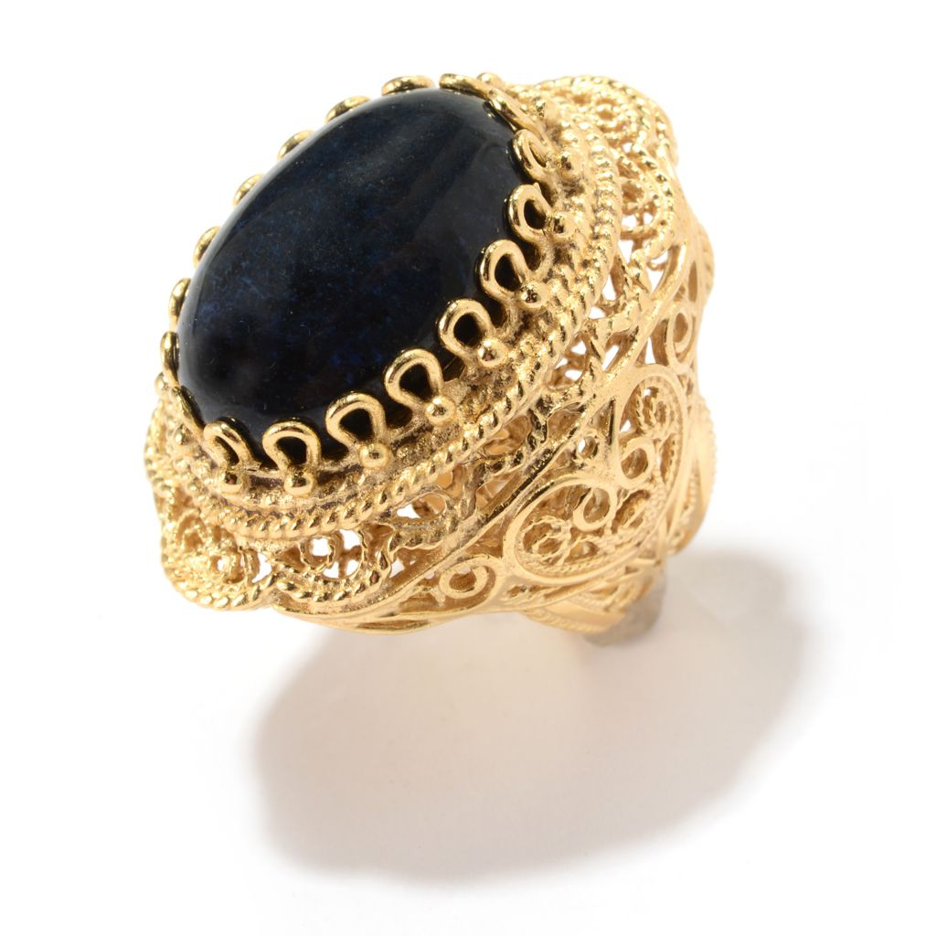 141-462 - Antalia™ Turkish Jewelry 18K Gold Embraced™ 18 x 13mm Dumortierite Ring
