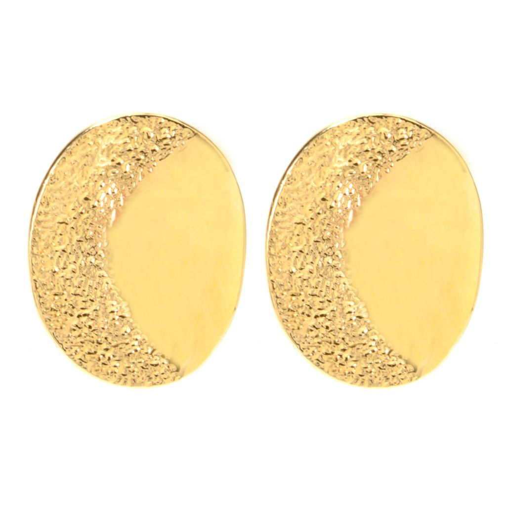 141-466 - Antalia™ Turkish Jewelry 18K Gold Embraced™ Textured & Polished Earrings