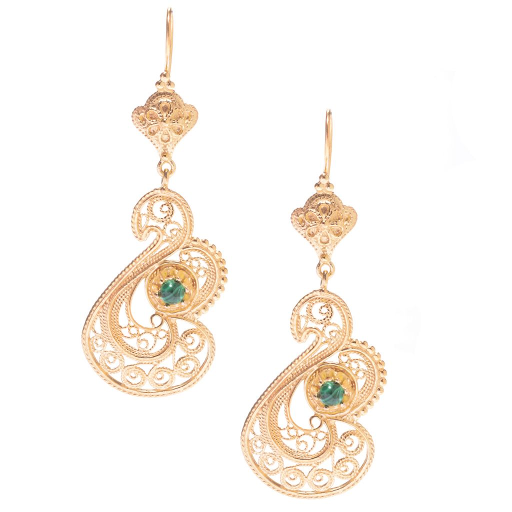 "141-467 - Antalia™ Turkish Jewelry 18K Gold Embraced™ 3.5"" Malachite Swan Earrings"