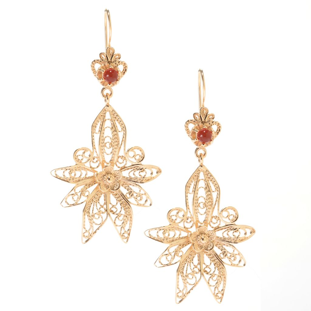 "141-468 - Antalia™ Turkish Jewelry 18K Gold Embraced™ 2.5"" Carnelian Filigree Earrings"