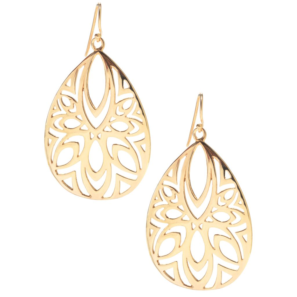 141-469 - Antalia™ Turkish Jewelry 18K Gold Embraced™ Geometric Cutout Teardrop Earrings