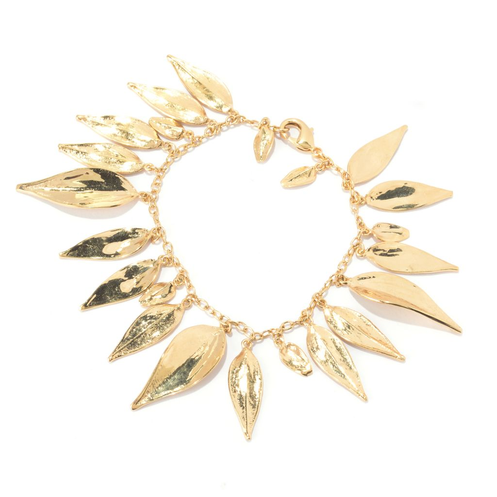141-470 - Antalia™ Turkish Jewelry 18K Gold Embraced™ Dangling Leaf Charm Bracelet