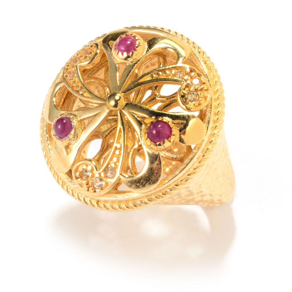 141-471 - Antalia™ Turkish Jewelry 18K Gold Embraced™ Gemstone Floral Swirl Ring