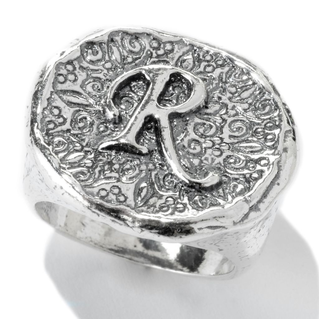 141-478 - Passage to Israel Sterling Silver Hammered Initial Signet Band Ring