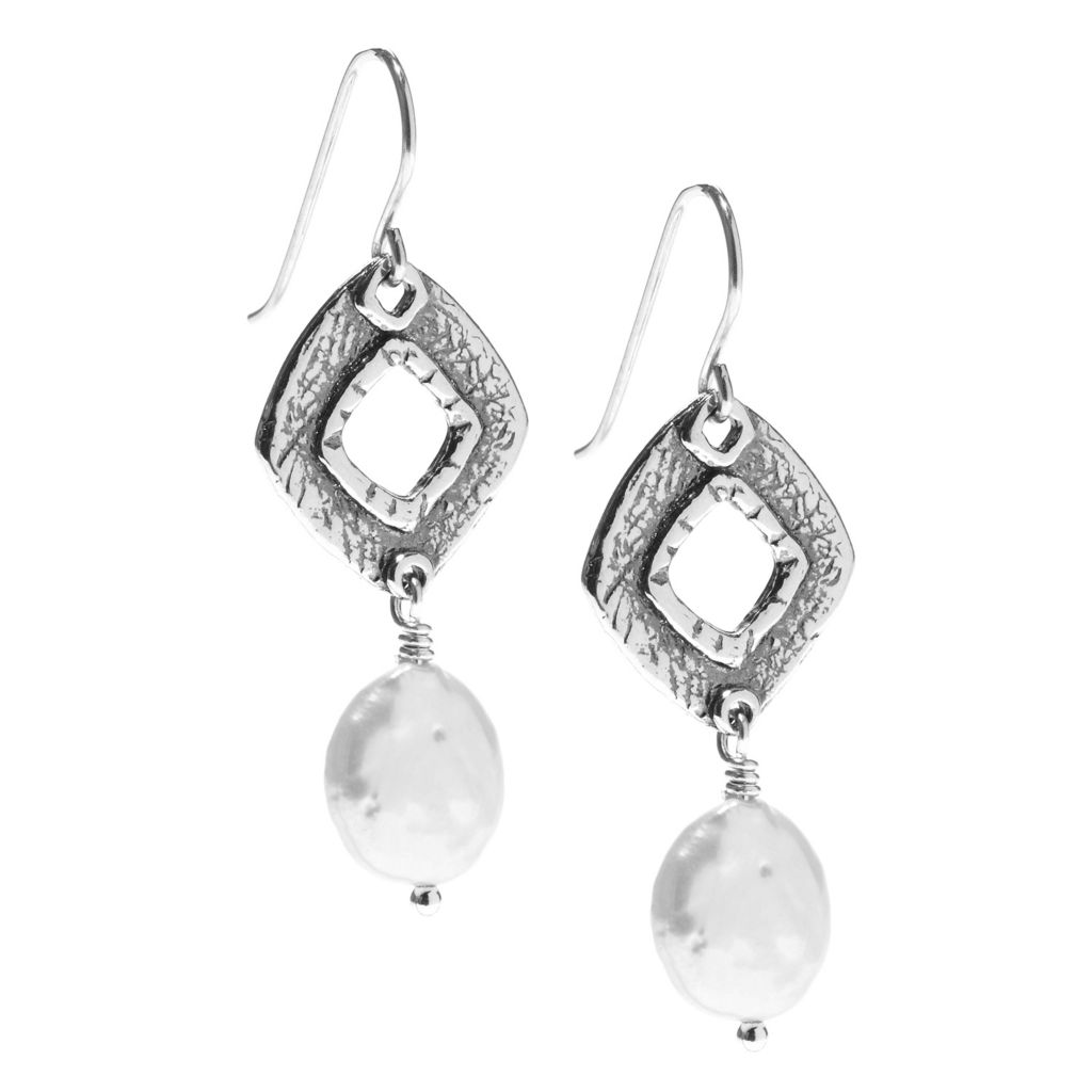 "141-482 - Passage to Israel Sterling Silver 1.75"" 10-11mm Freshwater Cultured Pearl Dangle Earrings"