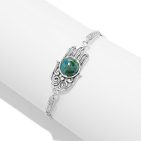 141-484 - Passage to Israel™ Sterling Silver 7.25'' Turquoise Charm Textured Toggle Bracelet