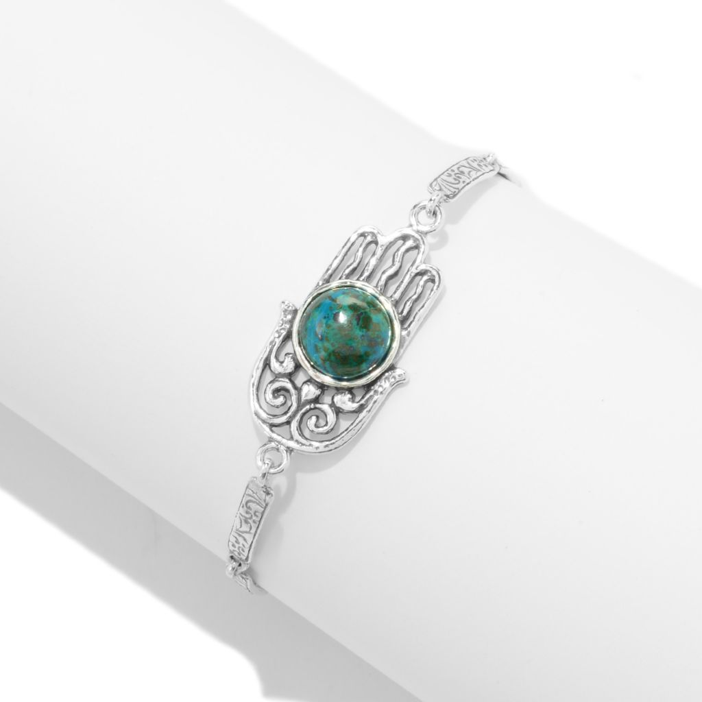 "141-484 - Passage to Israel Sterling Silver 7.25"" Turquoise Charm Textured Toggle Bracelet"