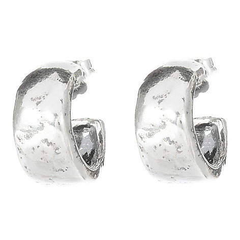141-486 - Passage to Israel Sterling Silver Polished & Hammered Huggie Hoop Earrings
