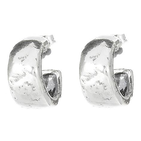 141-486 - Passage to Israel™ Sterling Silver Polished & Hammered Huggie Hoop Earrings