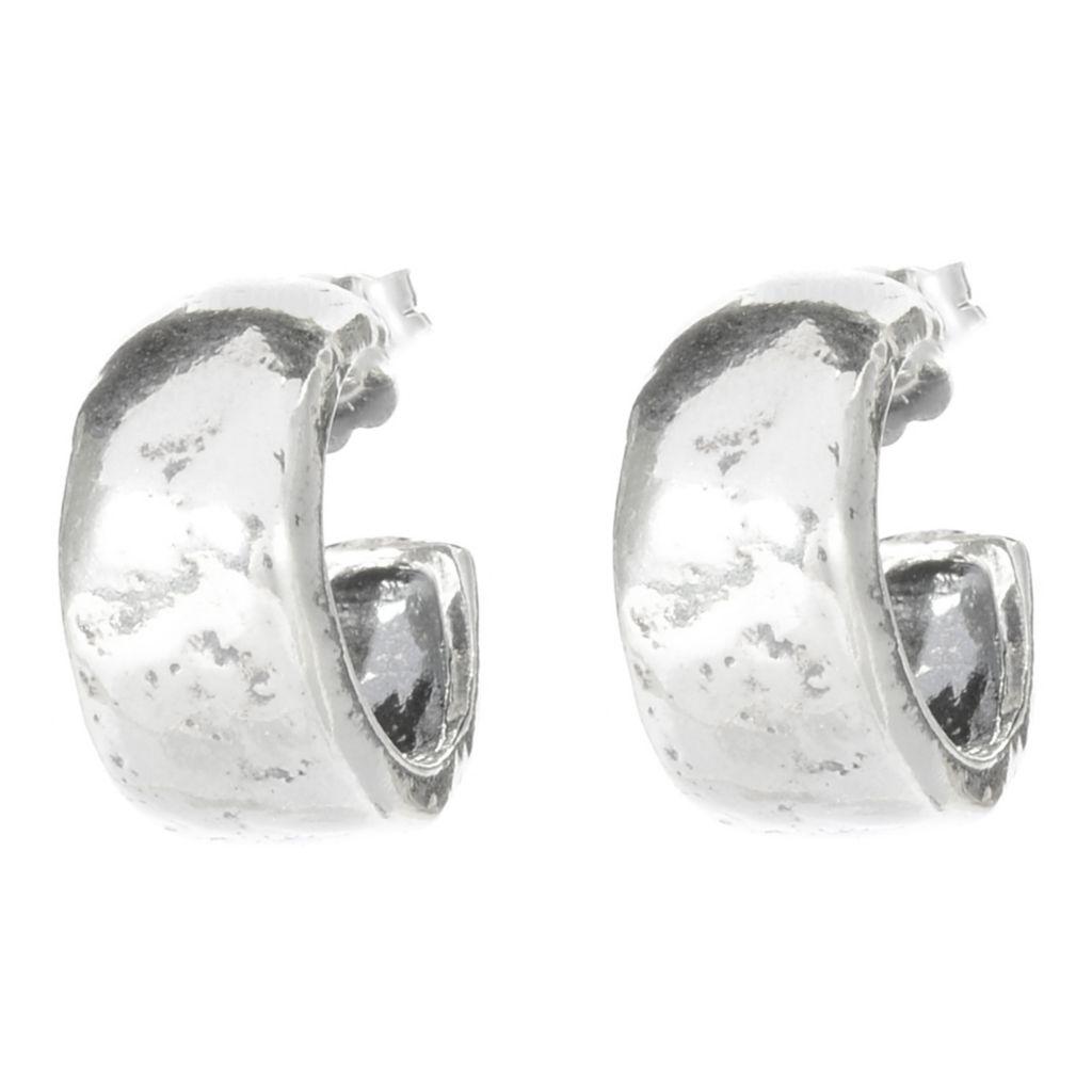 141-486 - Passage to Israel Sterling Silver Polished & Hammered Huggie Hoop Earrings