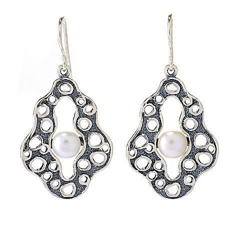 141-487 - Passage to Israel Sterling Silver 1.5'' 7mm Freshwater Cultured Pearl Abstract Drop Earrings