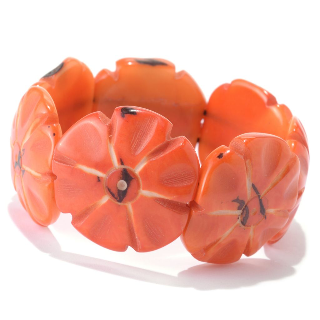 141-492 - Tagua Carved Floral Stretch Bracelet