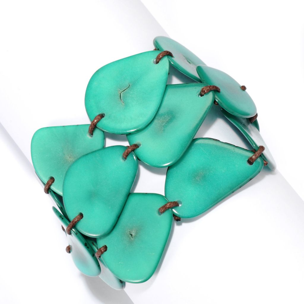 "141-493 - Tagua 8.5"" Sliced Three-Row Toggle Bracelet"