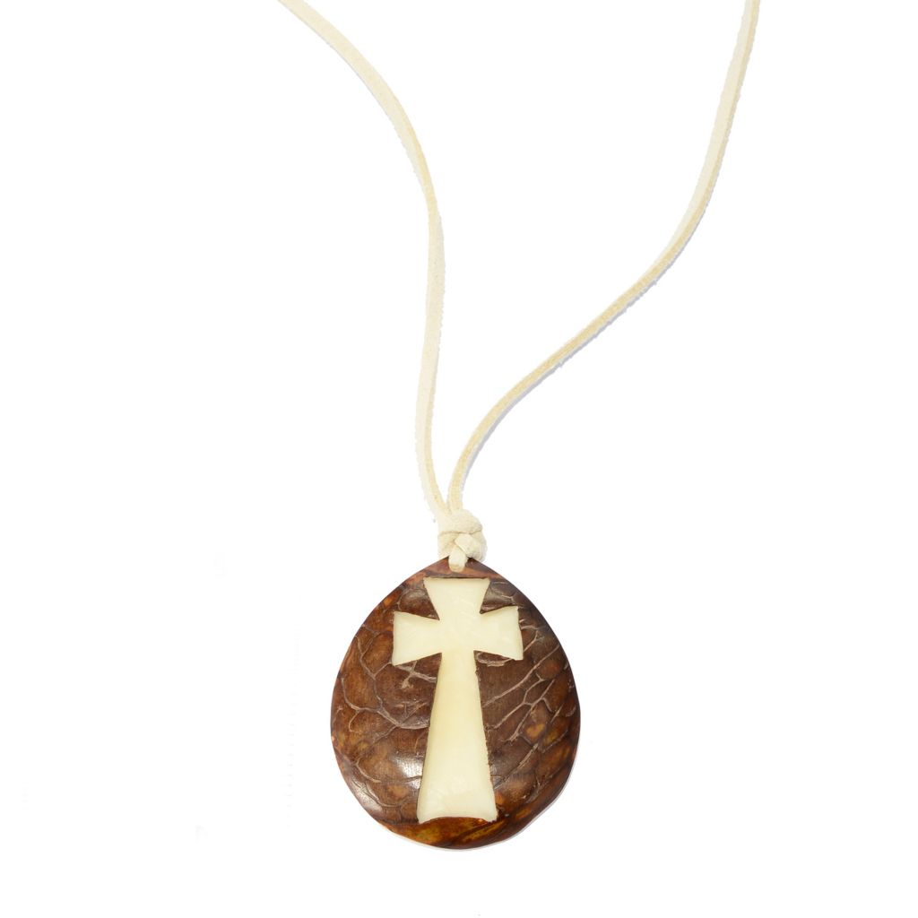 141-501 - Tagua Carved Cross Drop Leather Cord Necklace
