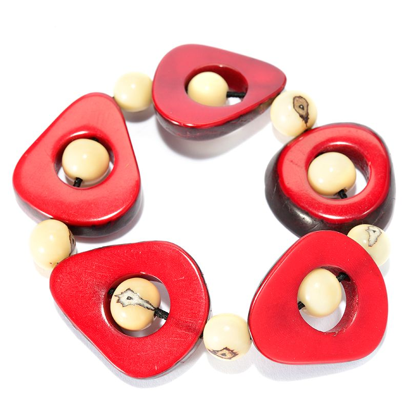 141-502 - Tagua Round & Cut-out Bead Station Stretch Bracelet