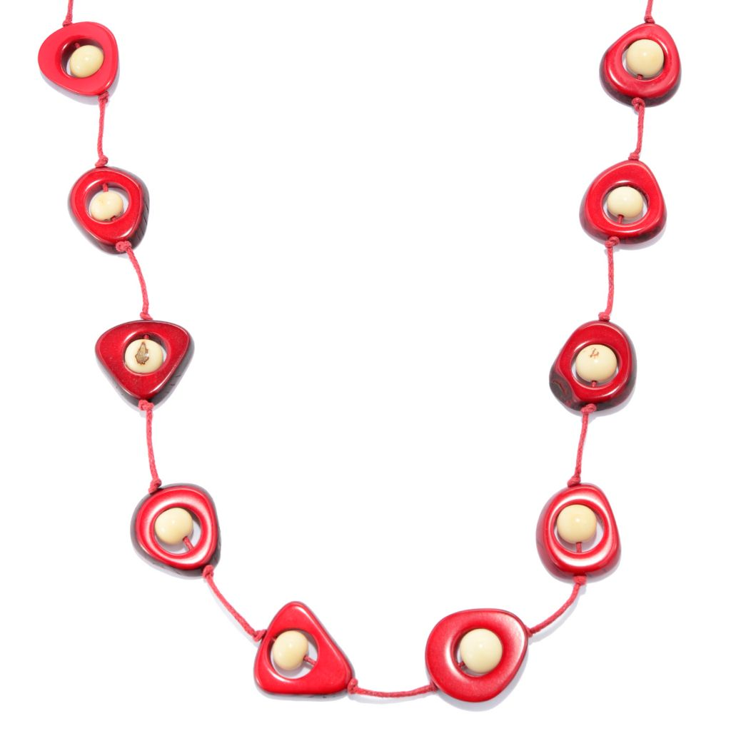 "141-503 - Tagua 36"" Round & Cut-out Bead Station Necklace"