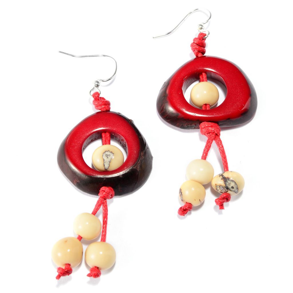 "141-504 - Tagua 2.5"" Round & Cut-out Dangle Earrings"