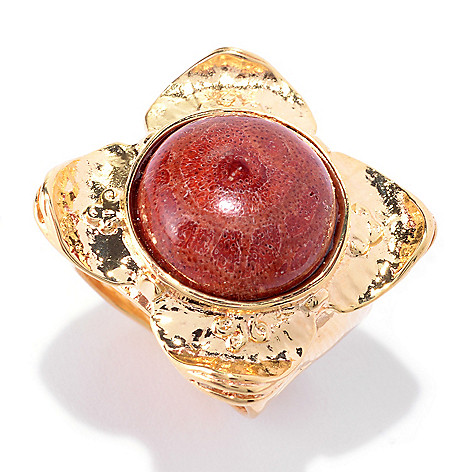 141-513 - Yam Zahav™ 18K Gold Embraced™ 15mm Round Red Sponge Coral Textured Ring