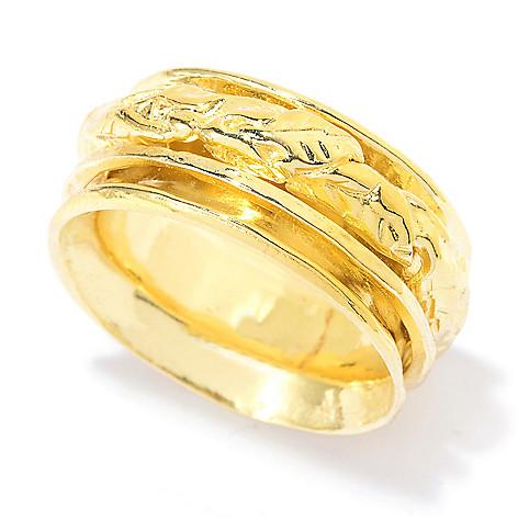 141-517 - Yam Zahav™ 18K Gold Embraced™ Textured & Polished Leaf Spinner Band Ring
