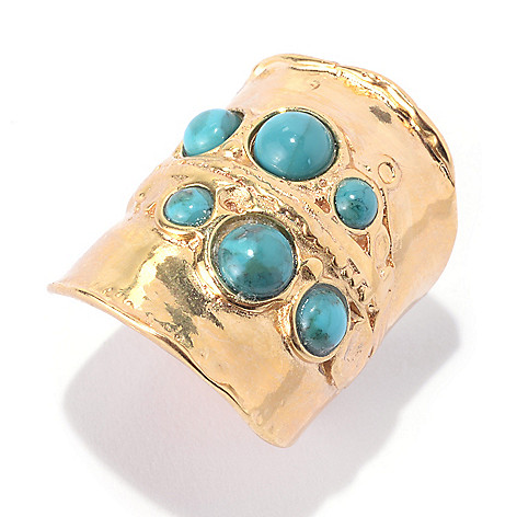 141-519 - Yam Zahav™ 18K Gold Embraced™ Round Turquoise Six-Stone Elongated Ring