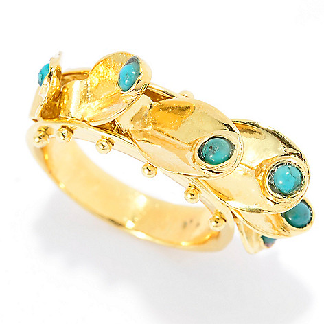 141-524 - Yam Zahav™ 18K Gold Embraced™ Round Turquoise Fringe Charm Band Ring