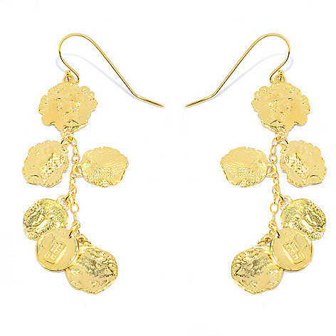141-528 - Yam Zahav™ 18K Gold Embraced™ 3'' Polished & Textured Charm Dangle Earrings