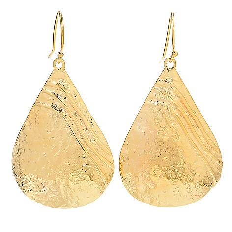 141-530 - Yam Zahav™ 18K Gold Embraced™ 2'' Textured Pear Shaped Drop Earrings