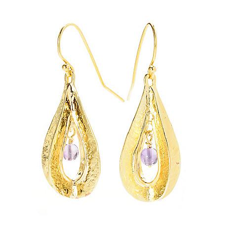 141-534 - Yam Zahav™ 18K Gold Embraced™ 1.5'' Round Amethyst Hammered Dangle Earrings