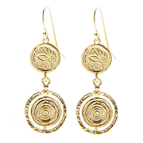141-536 - Yam Zahav™ 18K Gold Embraced™ 2'' Textured Double Circle Drop Earrings