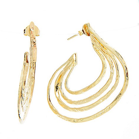 141-538 - Yam Zahav™ 18K Gold Embraced™ 1.5'' Hammered Multi Row Hoop Earrings
